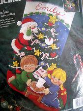 "Christmas Bucilla STOCKING FELT Applique Holiday Kit,COOKIES FOR SANTA,83391,18"""