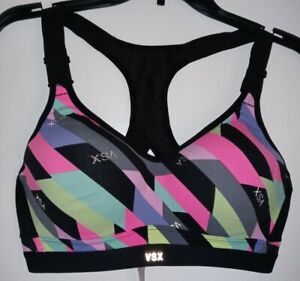 Victoria's Secret 36C Sports Bra Dot Print VSX Sport Underwire Molded Racerback