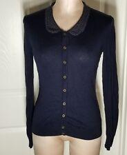 Merona Studded Peter Pan Collar Sweater Cardigan Button Front Women's Sz S
