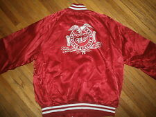 MILLER BEER RED NYLON COAT vtg 70s 80s Jacket Satin High Life Made American Way