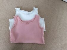 Two Baby Girls Vests. Size 6-9 Months. One Pink & One White