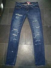 H&M FIT&SQIN W27 L32 UK8 LADIES DARK BLUE STRETCH DISTRESSED DENIM SKINNY JEANS