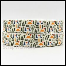 "TRAVEL ICONS  Ribbon.  7/8"" Grosgrain.  Scrapbooking/ Craft/ Bows. Destinations"