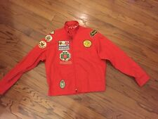 Vintage Boy Scout Jacket Girl Scout Patches  Men's size M 38-40 1970'S  Red