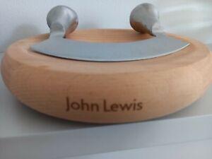 John Lewis Double Handle Mezzaluna Herb Chopper with Round Chopping Board