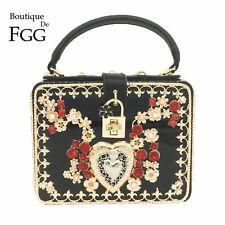 Flower Crystal Heart Women Black Shoulder Bag Box Clutch Crossbody Handbag Purse