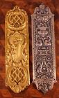 2x Harlequin Vintage Pressed Silver Gilt Door Finger Push Plates Rococo Pair