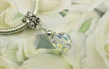Crystal AB Faceted Round Charm Bead w Swarovski Elements European Style