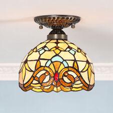 European Style Colorful Glass Shade Light Ceiling Lamp Flush Mount Tiffany Light