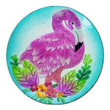 Flamingo Glass Bowl Bird Bath 18""