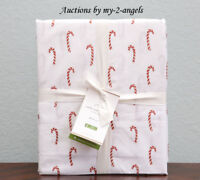 NEW Pottery Barn CANDY CANE Organic Cotton Percale Queen Sheet Set Christmas Red