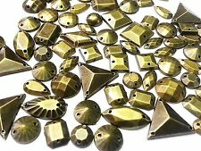 75pcs METALLIC BRASS Faceted Acrylic Sew On, Stick on GEMS Studs