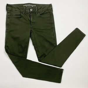 AMERICAN EAGLE Super Stretch Army Green Mid-Rise Jeggings - Size 8