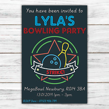 10 *PERSONALISED* invitations BOWLING PARTY unisex INVITES party