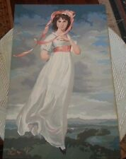 """Vintage 18"""" X 28"""" Original Art Painting Classy Lady in the Breeze"""