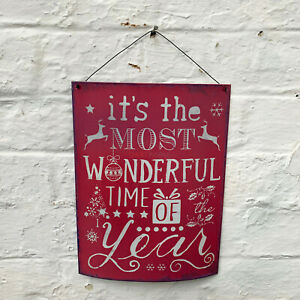 Vintage Pink Metal Merry Christmas Xmas Home Decorative Wall Hanging Sign Plaque
