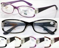 L437 Stylish Ladies Plastic Reading Glasses Diamante Detailed Special Designed