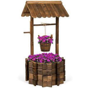 Rustic Wooden Wishing Well Planter Outdoor Decor Patio Garden Yard w bucket
