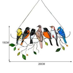 Colorful Birds on a Wire High Stained Glass Suncatcher Window Panel Home Decor