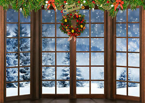 Rustic Wood Window Xmas Wreath Snow Fir Backdrop 7x5ft Vinyl Photo Background LB