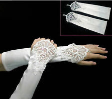 White Satin Lace Pearls Wedding Prom Fingerless Elbow Gloves One Size M-L-XL New