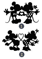 "Mickey & Minnie in Love Silhouette Die Cut, 3"" - 4"" or 6"" tall - Any Color-"