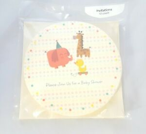 Girl Boy Baby Shower Invitations Envelopes 10 pack Elephant Giraffe Duck Circle