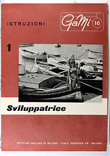 Original GaMi 16 Manual for Daylight Developing Tank, 6 pages, in Italian, 1956