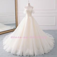 Luxury Off Shoulder A Line Lace Organza Wedding Dress Champagne New Bridal Gown