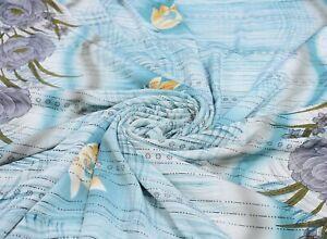 Vintage Bleu Saris 100% Pure Soie Tissu Loisirs Créatifs Imprimé Décor Couture
