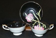 Vintage Chugai China Black Demitasse Teacups & Saucer Pink Floral Occupied Japan