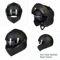 Black Full Open Face Modular Flip Up Dual Visor Motorcycle Street Helmet