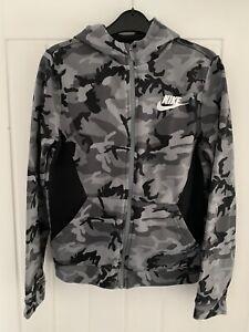 Boys Nike Grey And Black Camouflage Full Zip Hoodie Age 12-13 Years