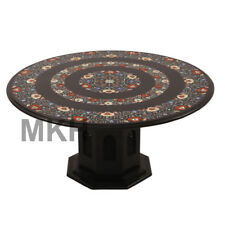 Vintage Coffee Table Marble Stone Inlay End Table Top Mid Century Hand Carved