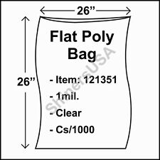 1000 1-Mil 26x26 Clear Poly Bag Open Top Lay Flat Packaging 121351