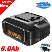 For WORX WA3520 WA3578 MAX 6.0AH 20Volt Lithium-Ion Battery WA3525 WA3575 WG155s