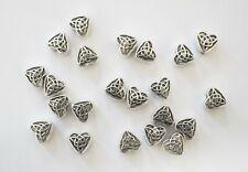 30 Heart Spacer Beads - Celtic Knot Design - 6mm - Tibetan Antique Silver
