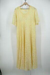 Vintage Cottagecore Dress Womens Large L Yellow Lace Flowy Maxi