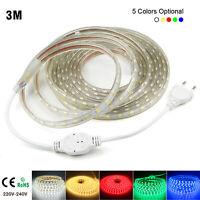 3M 5050 LED Strip Light 220V Flexible tape rope Waterproof smd decor 30leds/m