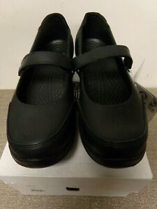 Crocs Saffron Leather Mary Jane Non-Slip Work Shoes Black Size Women's 10 BNWT