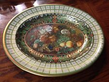 Daher Decorated Ware Oval Metal Tray Still Life Fruit Floral Green Gold England