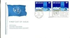 1970 UNITED NATIONS NEW YORK 8 CENT TWO STAMP COVER OFFICIAL CACHET UNADD FDC