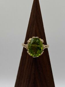 Solid 14k Gold Ring with Natural Peridot