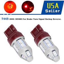 2x 7443  Red 30SMD 2835 Strobe Flashing LED Brake Tail Light  Bulbs 12V-24V