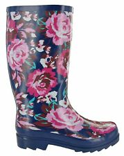 Ladies Mudrocks Rubber Wellington Boots Floral 3/4 Flower Print Wellies UK 4-8