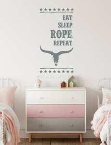 Eat Sleep Rope Repeat Western Quote Room Wall Art Decal Bedroom Words Sticker