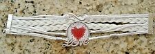 Corded Heart Glass Cabochon Bracelet Love Adjustable White Faux Leather