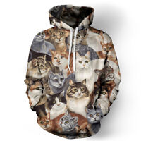 3D Cats Print Men Women's Hoodie Sweater Sweatshirt Jacket Coat Pullover Tops