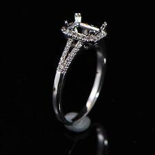 5x7mm Emerald Cut Solid 18k 750 White Gold Semi Mount Natural Diamond Ring