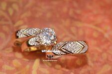 His Her Mens Woman Diamonds Wedding Ring Bands Trio Bridal Set 14k Yellow Gold